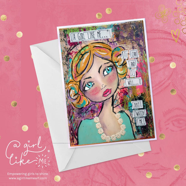 Empowering greeting card for girls, tweens and teens