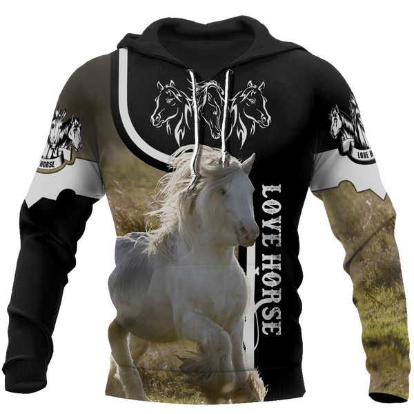 Love White Horse Shirt - Winter Set for Men and Women JJ091201