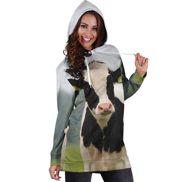 3D All Over Printed Dutch Cow Hoodie Dress