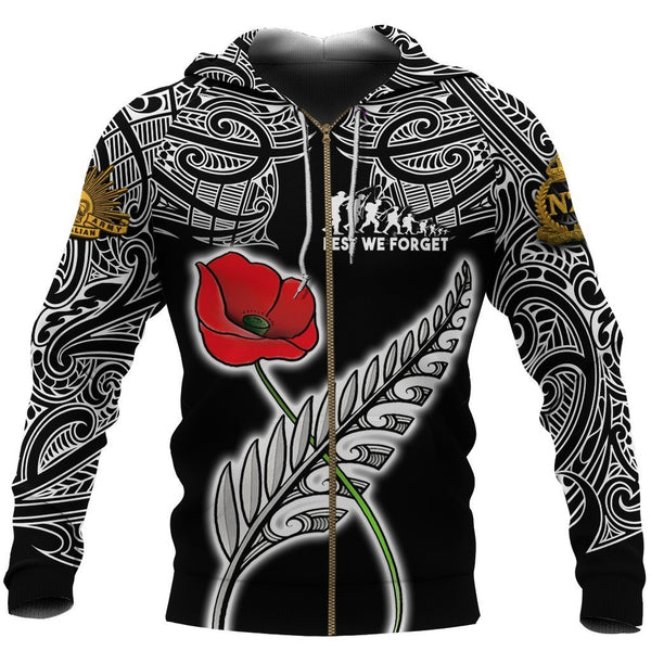 Anzac Australia and New Zealand Hoodie, Poppy Fern Lest We Forget Zipper Hoodie NNKANZ4