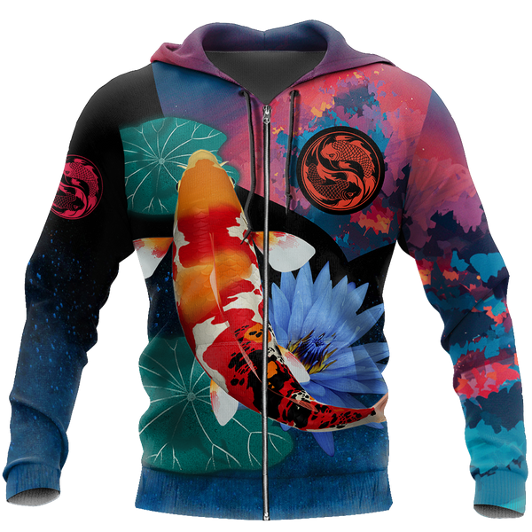 Koi Fishing on lotus 3D all over printing shirts for men and women TR110201