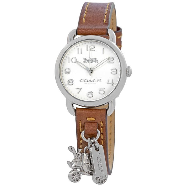Coach Delancey White Dial Ladies Leather Watch 14502815 Brown band