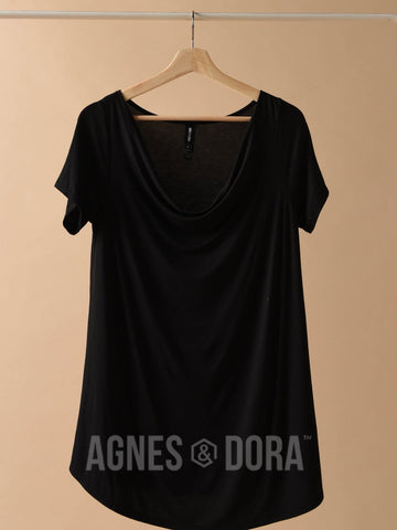 Agnes & Dora™ Everyday Tee Drape Neck Black ONESIE SALE