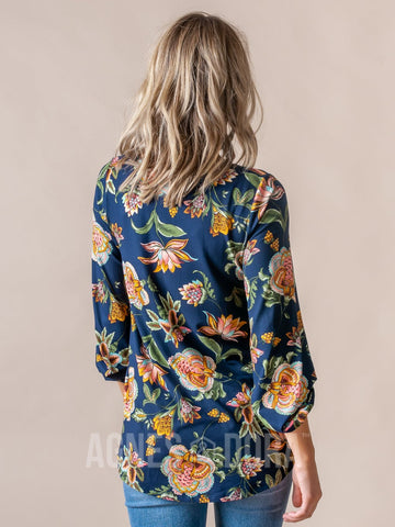 Agnes & Dora™ Everyday Balloon Sleeve Tee Navy Boho Floral