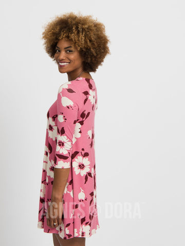 Agnes & Dora™ 3/4 Sleeve Swing Tunic Floral Canvas