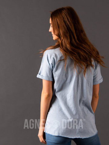 Agnes & Dora™ V-Neck Pocket Tee Sky ONESIE SALE