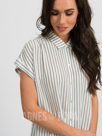 Agnes & Dora™ Button Down Cuff Sleeve Faded Navy Stripe  ONESIE SALE