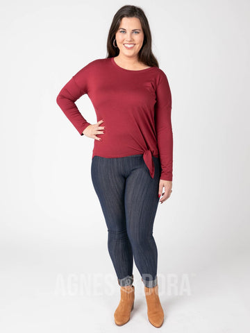 Agnes & Dora™ Afternoon Tee Long Sleeve Dark Red ONESIE SALE