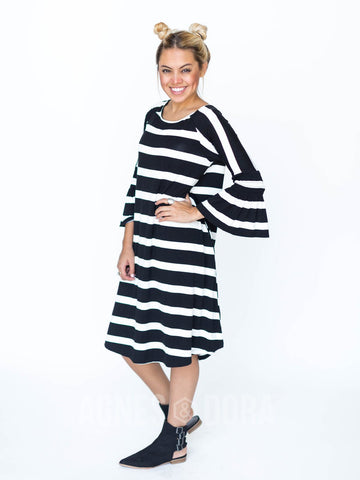 Agnes & Dora™ Bloom Dress Black and White Stripe ONESIE SALE