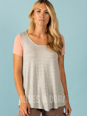 Agnes & Dora™ Everyday Tee - Colorblock Heather Grey/Ivory Stripe-Peach