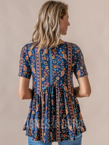 Agnes & Dora™ Muse Top Half Sleeve Navy Paisley Stripe Floral