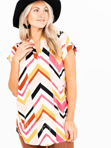 Agnes & Dora™ Mandarin Collar Tunic Off Set Chevron