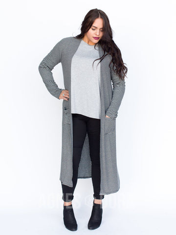 Agnes & Dora™ Duster Ribbed Black and Heather Grey Stripe ONESIE SALE