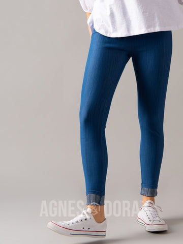 Agnes & Dora™ Knit Jeggings Medium Denim (reinforced elastic waistband) ONESIE SALE