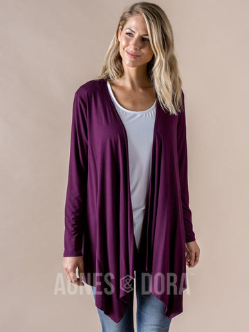 Agnes & Dora™ Waterfall Cardigan Plum