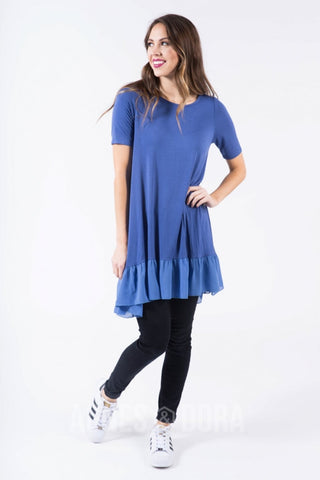 Agnes & Dora™ Chiffon Ruffle Tunic in Denim Blue ONESIE SALE