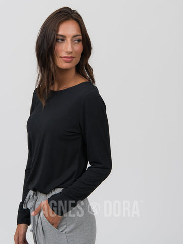 Agnes & Dora™ Fitted Tee Long Sleeve Black