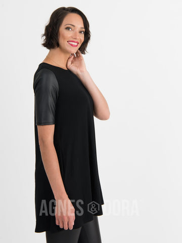 Agnes & Dora™ Swing Tunic Black with Pleather Sleeves