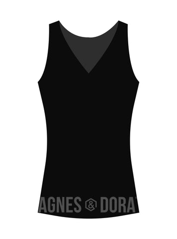Agnes & Dora™ Fitted Tank V-Neck Black
