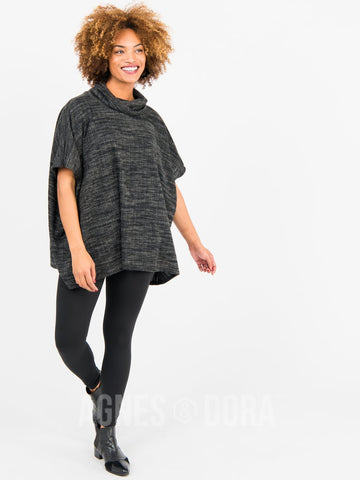 Agnes & Dora™ Turtleneck Poncho Heather Black