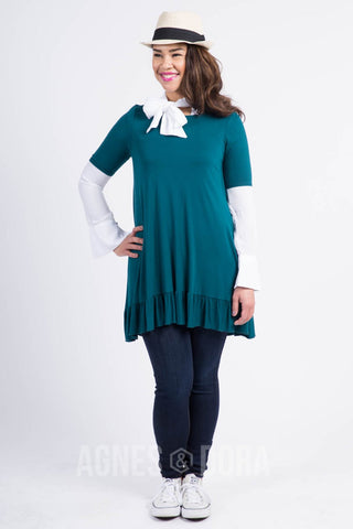 Agnes & Dora™ Ruffle Tunic in Forest Green  ONESIE SALE
