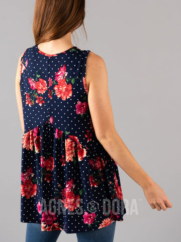Agnes & Dora™ Sleeveless Muse Navy/Coral/White Floral Dot  ONESIE SALE