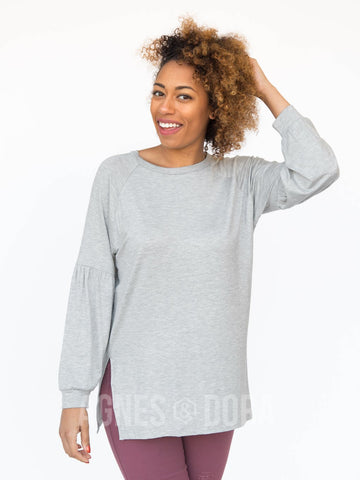 Agnes & Dora™ Raglan Long Sleeve Tee Modal Heather Grey