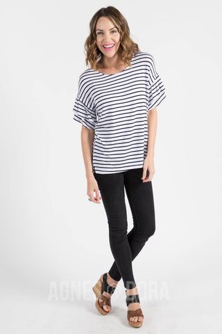 Agnes & Dora™ Frill Sleeve Top White and Navy Stripe ONESIE SALE