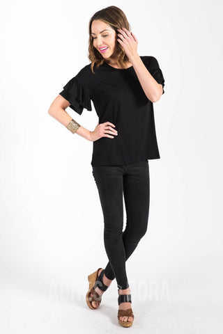 Agnes & Dora™ Frill Sleeve Top Black ONESIE SALE