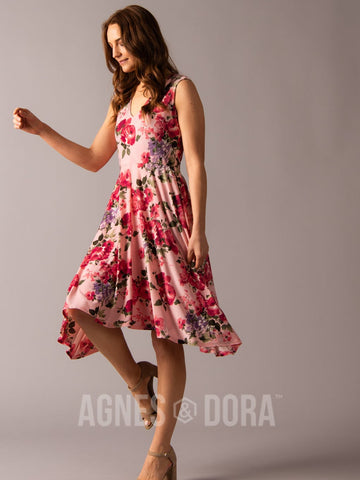 Agnes & Dora™ Handkerchief Midi Dress Sleeveless Blush Floral ONESIE SALE