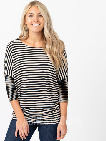 Agnes & Dora™ Dolman Tunic Duo Stripe Black & White