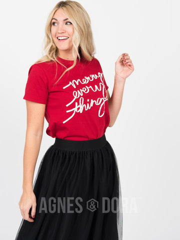 "Agnes & Dora™ Graphic Tee Haute Red ""Merry Every Thing"" ONESIE SALE"