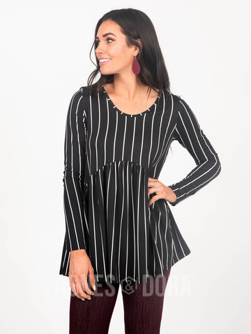 Agnes & Dora™ Muse Top Long Sleeve Black/White Vert Stripe