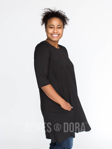 Agnes & Dora™ 3/4 Swing Tunic Black Solid ONESIE SALE
