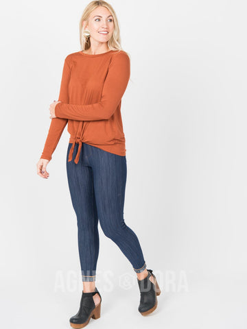 Agnes & Dora™ Tie Front Top Long Sleeve Cognac