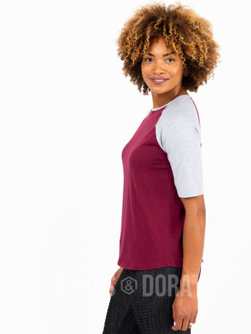 Agnes & Dora™ Raglan Top Wine with Heather Gray