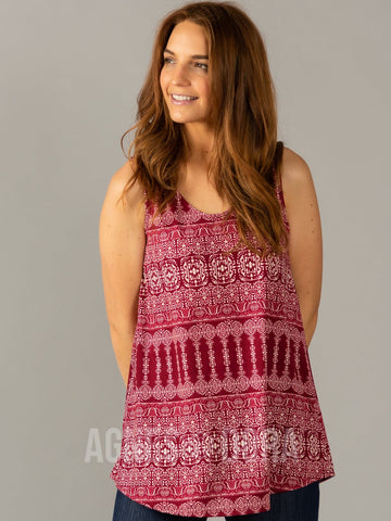 Agnes & Dora™ Essential Tank - Scoop Neck Ruby/Ivory Boho