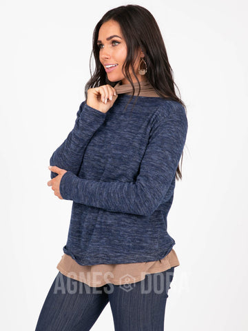 Agnes & Dora™ Cross Over Sweater Navy ONESIE SALE
