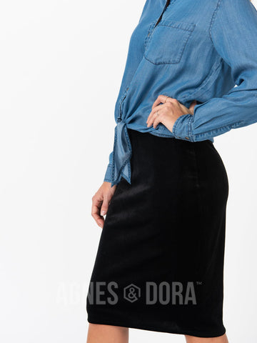 Agnes & Dora™ Pencil Skirt Velvet Black ONESIE SALE
