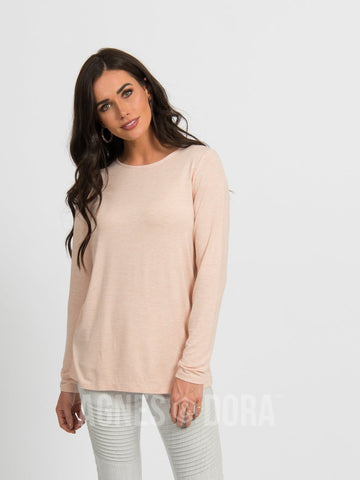 Agnes & Dora™ Fitted Tee Long Sleeve Heather Rose Gold ONESIE SALE