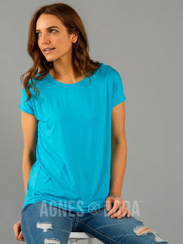Agnes & Dora™ Cut Out Neckline Tee Scuba Blue
