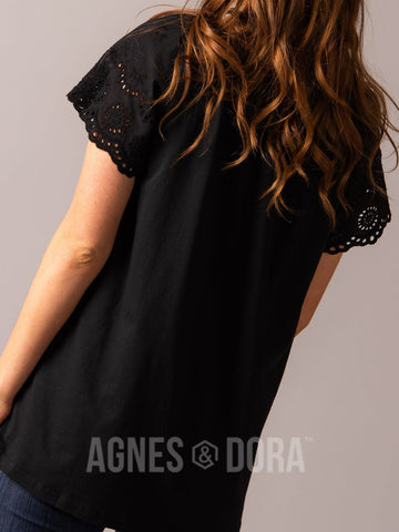 Agnes & Dora™ Eyelet Sleeve Top Black