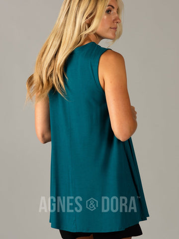 Agnes & Dora™ Swing Tee Cut out Neckline Teal  ONESIE SALE
