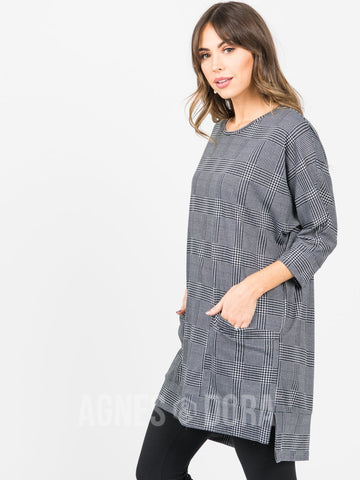 Agnes & Dora™ Deep Pocket Tunic Black Houndstooth ONESIE SALE