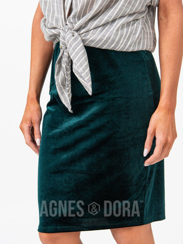 Agnes & Dora™ Pencil Skirt Velvet Hunter Green ONESIE SALE