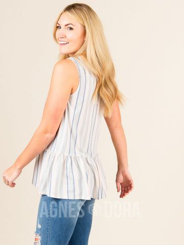 Agnes & Dora™ Relaxed Ruffle Tank Blue/Grey/Blush Stripe ONESIE SALE