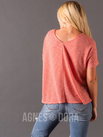 Agnes & Dora™ Canyon Top Coral Stripe