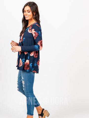Agnes & Dora™ Muse Top Long Sleeve Navy Floral ONESIE SALE