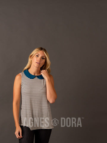 Agnes & Dora™ Never Land Tank Ivory/Black Stripe/Teal
