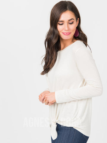 Agnes & Dora™ Tie Front Top Long Sleeve Oatmeal